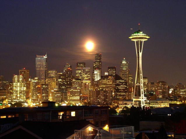 Seattle Night Skyline - Islam in Seattle