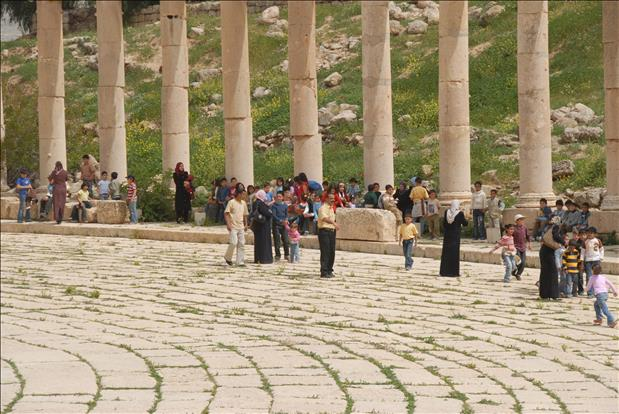 Tourists in Jersah Jordan