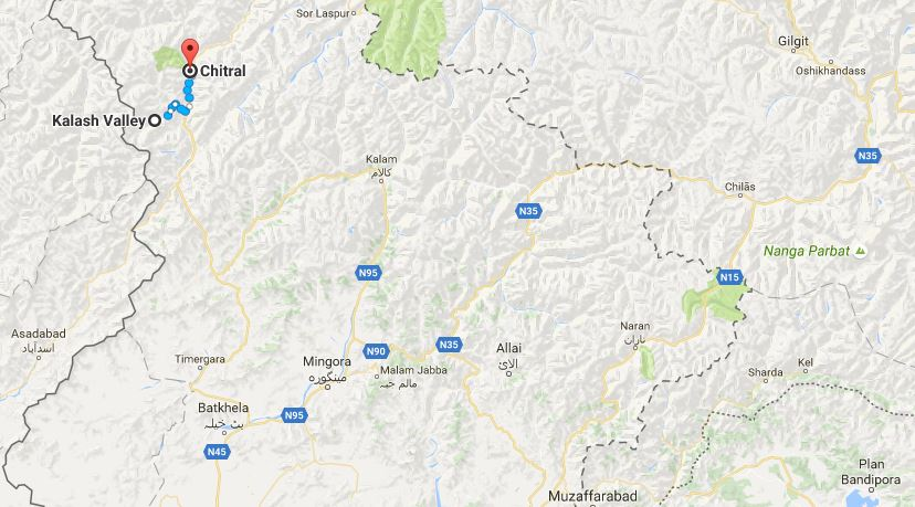 Chitral and Kalash Valley on Map of Northern Pakistan